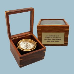 Brass-Stanley London 1941 Navigation Compass Paperweight Marine with wooden boc