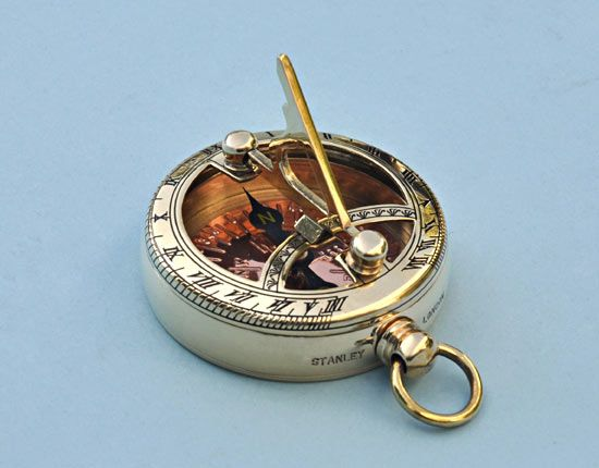 Two In One Sundial Compass Solid Brass Wrist Watch Best Gift Or Collection.