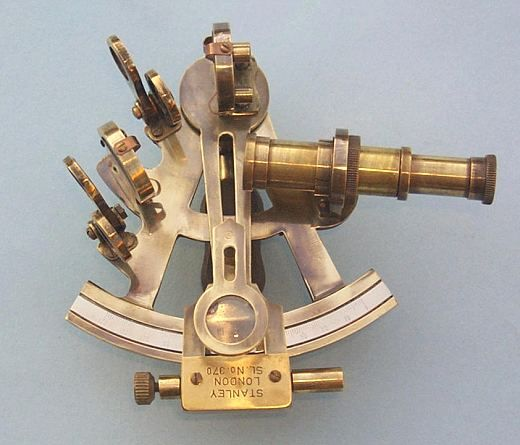 Large Brass Antique Ship Sextant With Leather Telescope Nautical Working Sextant
