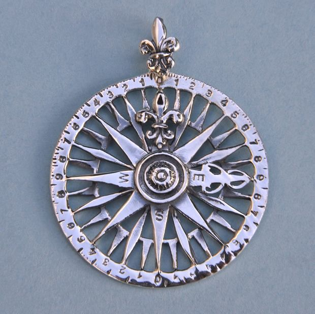 Sterling silver compass rose pendant aloadofball Image collections
