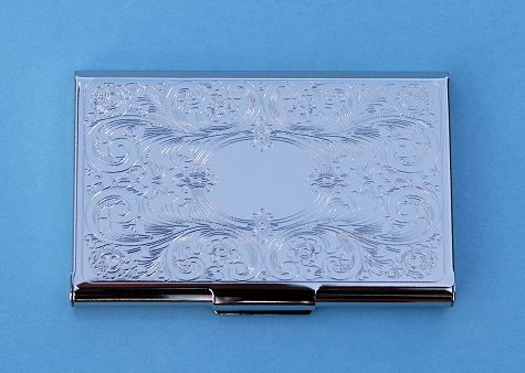 Engravable embossed scroll silver plated card case colourmoves
