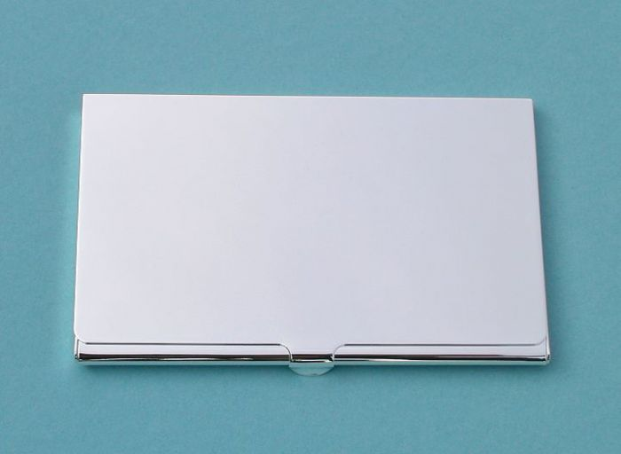 Engravable slim nickel plated card case colourmoves