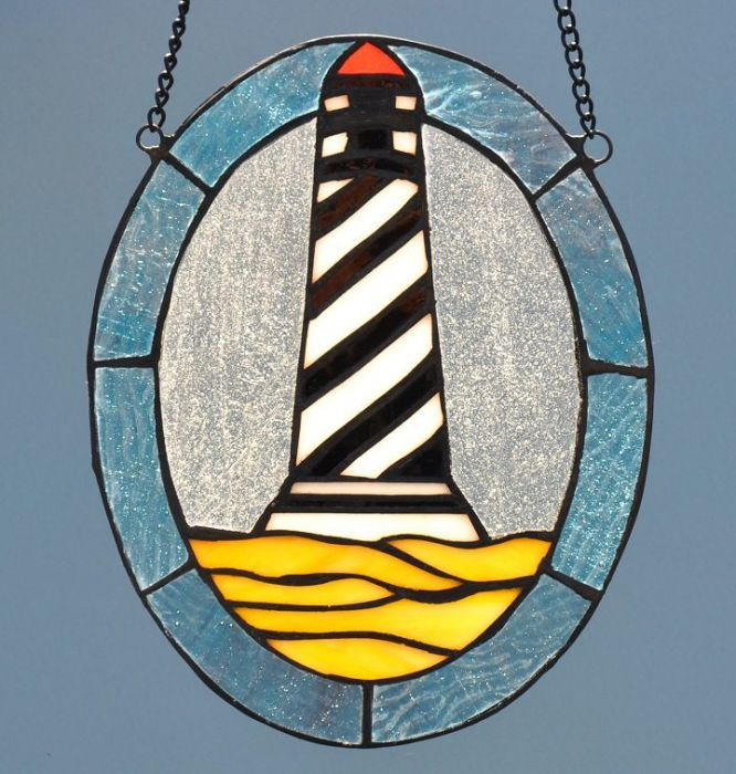 Best Cape Hatteras Lighthouse Oval Stained Glass Suncatcher CF96