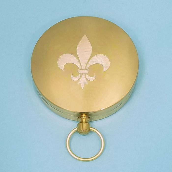 Engraved Solid Brass Wilderness Scouting Compass Engraved (Fleur de Lis)