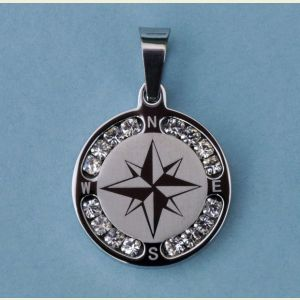 Engravable Stainless Steel Compass Rose Pendant with Rhinestones