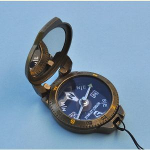 Engravable Antique Brass Finish Pocket Compass with Lanyard