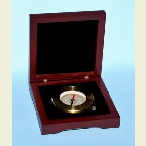 Engravable Brass Luminescent Paperweight Compass with Hardwood Box