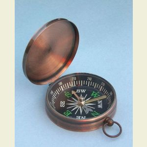 Engravable Copper-Colored Lightweight Brass Pocket Compass