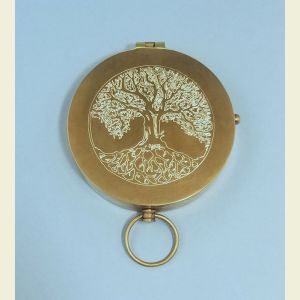 Antique Large Brass Pocket Compass Engraved (Tree of Life)