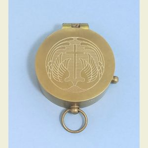 Engravable Antique Medium Brass Pocket Compass (Two Doves and Cross)