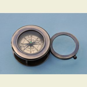 Engravable Antique Brass Desk Compass with Swivel Magnifier