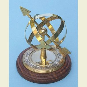 Decorative Armillary Sphere Sundial with Hardwood Base