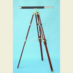 Engravable 30-inch Leather Sheathed Harbormaster Brass Telescope on Hardwood Tripod