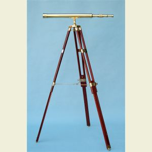 Engravable 30-inch Brass Harbormaster Telescope on Hardwood Tripod