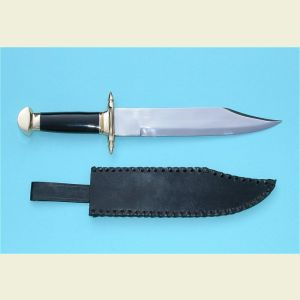 Engravable Marine Bowie Knife with Leather Sheath