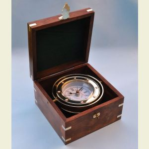 Engravable Solid Brass Gimbaled Boxed Clock