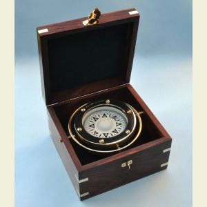 Engravable Air-Damped Regular-Size Gimbaled Boxed Compass