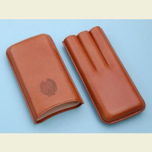 Brown Leather Triple Cigar Holder