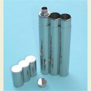 Engravable Stainless Steel Flask and Double Cigar Holder