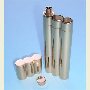 Engravable Gold Plated Stainless Steel Flask and Double Cigar Holder