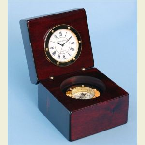 Engravable Piano Finished Mahogany Desk Clock with Compass