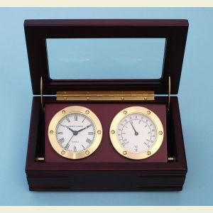 Engravable Boxed Quartz Clock and Thermometer