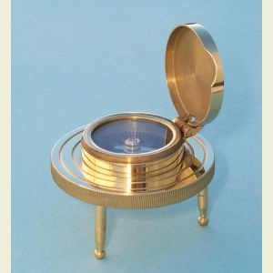 Engravable Small 3-Leg Brass Desk Compass