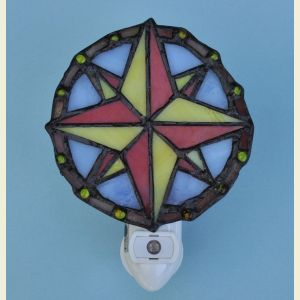 Compass Rose Stained Glass Night Light (Sensor)