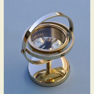 Engravable Small Brass Gimbaled Desk Stand Compass