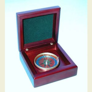 Engravable Mahogany Desk Compass