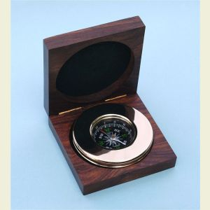 Engravable Large Brass Paperweight Compass with Hardwood Box