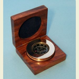Engravable Small Brass Paperweight Compass with Hardwood Box