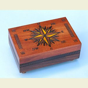 Engravable Secret Opening Compass Rose Chartography Box