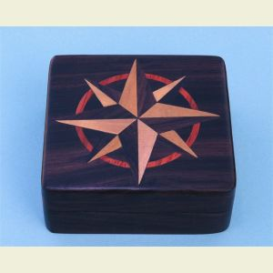 Engravable Small Rosewood Desk Compass with Inlaid Compass Rose