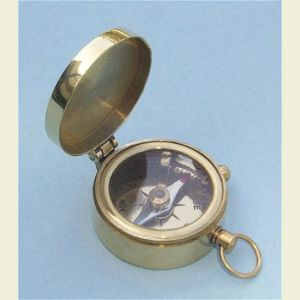 Engravable Miniature Brushed Brass Pocket Compass