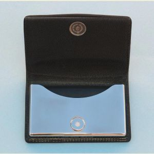 Engravable Dalvey Leather and Stainless Steel Business Card Case