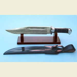 Engravable Damascus Bowie Knife with Stand and Sheath