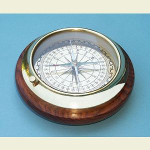 Engravable Directional Brass Desk Compass