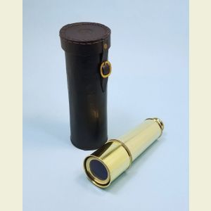 Engravable 18-inch Polished Brass Spyglass Telescope with Leather Case