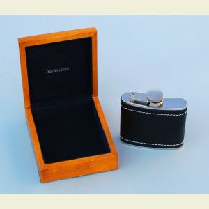 Engravable Leather Wrapped 5 oz. Flask in Hardwood Case