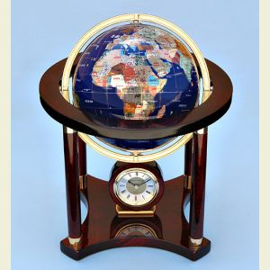 Engravable Large Gemstone Globe and Quartz Clock on Mahogany Stand