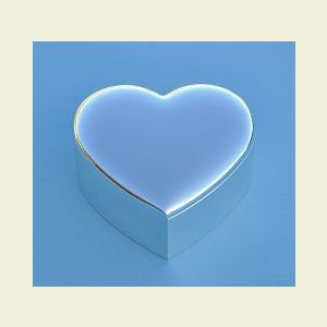 Engravable Small Nickel Plated Heart Shaped Jewelry Box