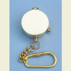 Engravable Miniature Brushed Brass Pocket Compass Key Chain