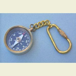 Engravable Open-Face Miniature Brass Key Chain Compass