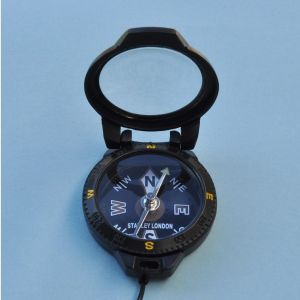 Engravable Black Pocket Compass with Magnifier and Lanyard