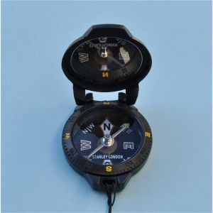 Engravable Black Pocket Compass with Mirror and Lanyard