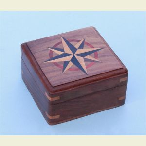 Engravable Large Hardwood Case with Hand Inlaid Compass Rose