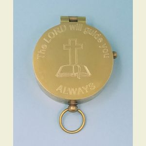 Engravable Antique Medium Brass Pocket Compass (The LORD Will Guide You ALWAYS)