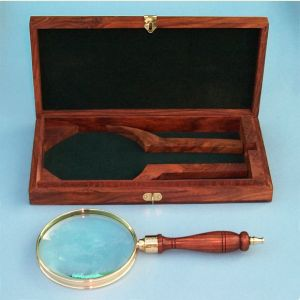 Engravable Brass Hand Magnifier with Hardwood Case