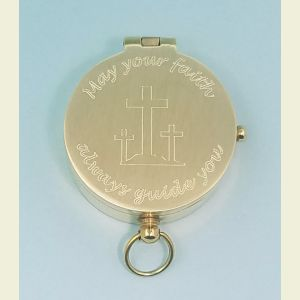 Engravable Brushed Medium Brass Pocket Compass (May Your Faith Always Guide You)